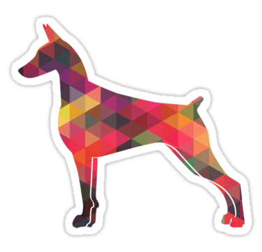 375x360 Doberman Pinscher Dog Colorful Geometric Pattern Silhouette Also