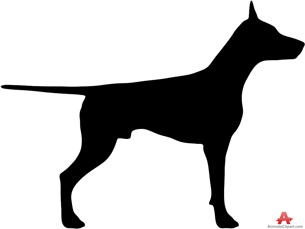 999x750 Doberman Dog Silhouette Free Clipart Design Download