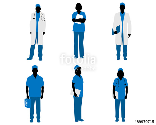 500x400 Doctors Silhouettes On White Stock Image And Royalty Free Vector