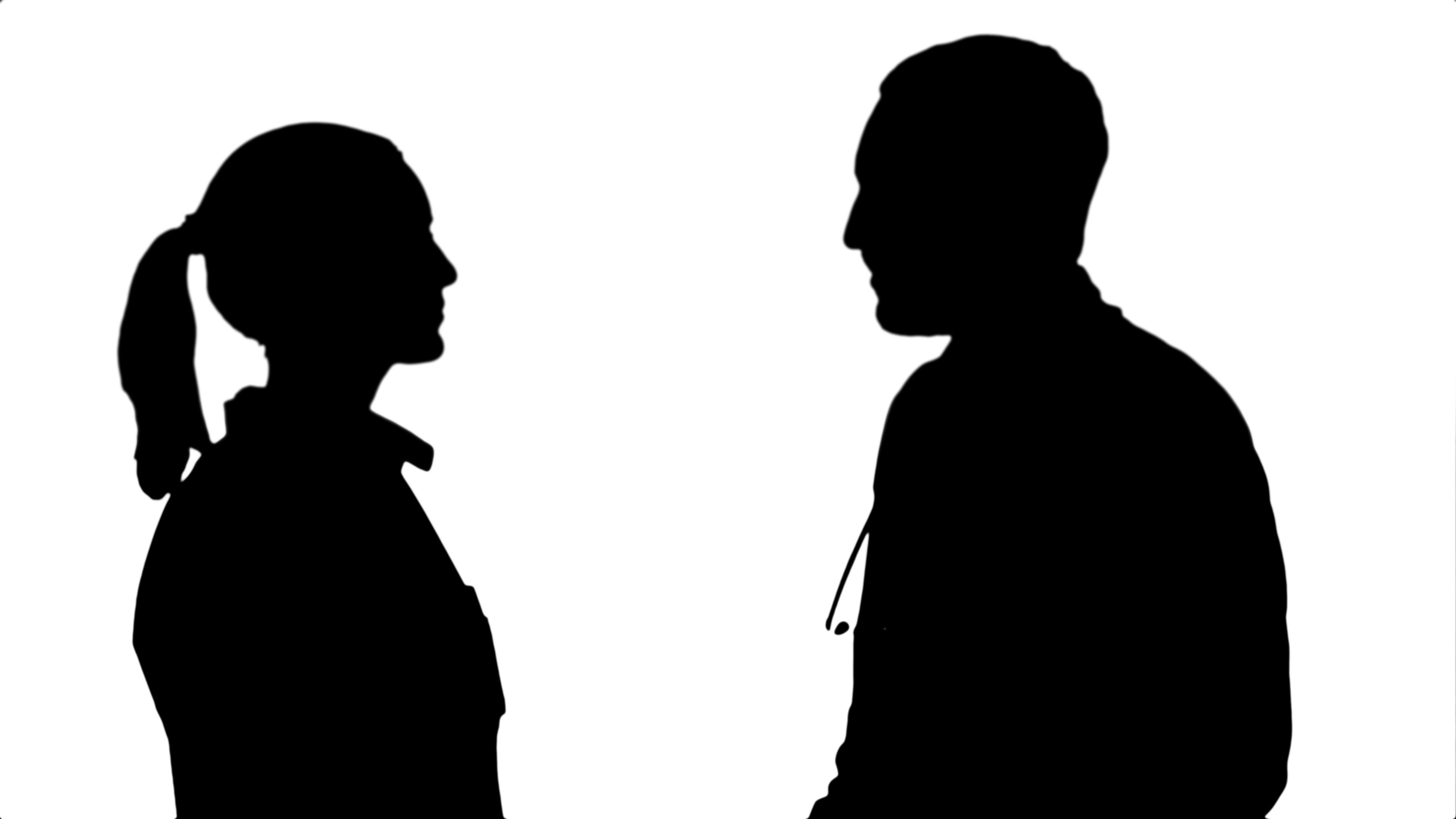 3840x2160 Silhouette Young Man Doctor And Beautiful Nurse Shaking Hands