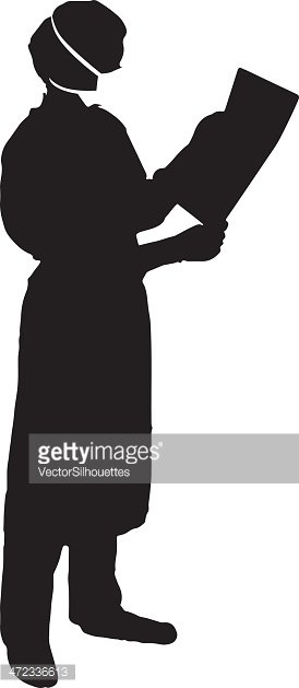 274x629 Doctor Reading Chart Silhouette Stock Vectors