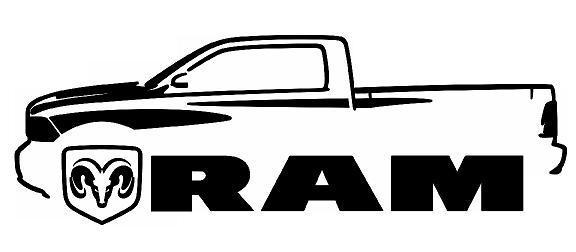 576x252 Dodge Ram Hemi Outline Silhouette Art Wall Decals Graphics Man