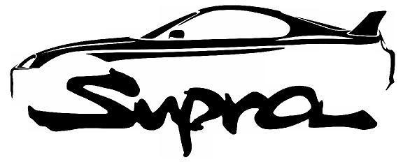 576x232 Classic Street Racer Supra Outline Silhouette Art Wall Decals