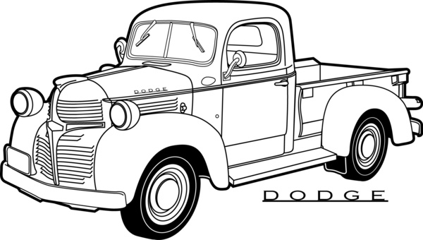 600x340 Line Drawing Old Dodge Pickup Truck