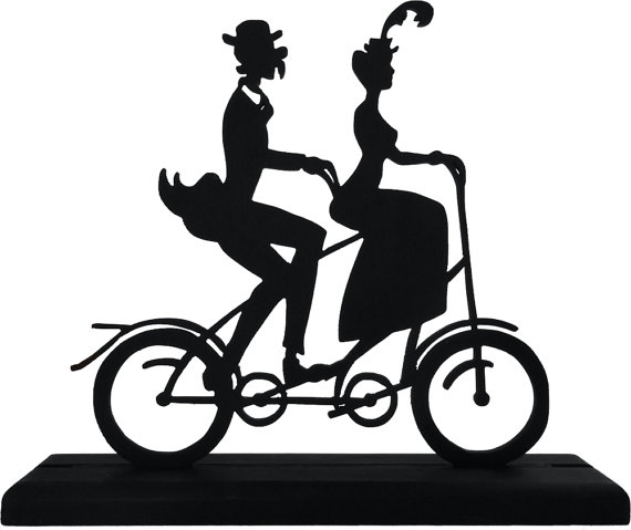 570x479 Victorian Tandem Bicycle Couple Decorative Black Handmade