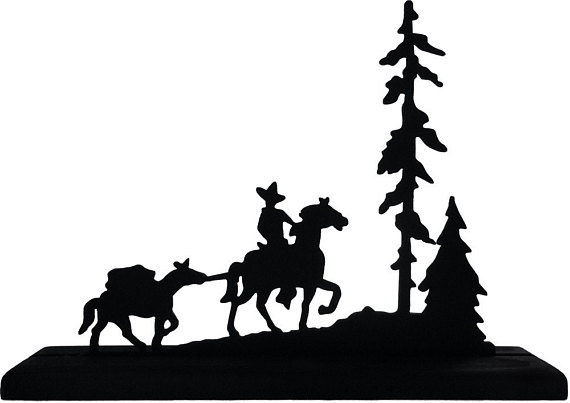570x403 Cowboy With Packhorse Handmade Wood Display Silhouette