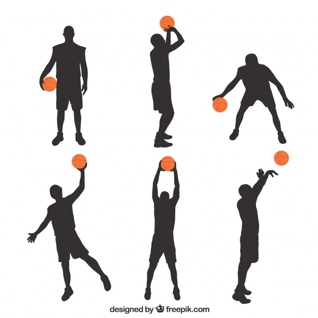 626x626 Silhouettes Of Basketball Players With Colored Ball Vector Free