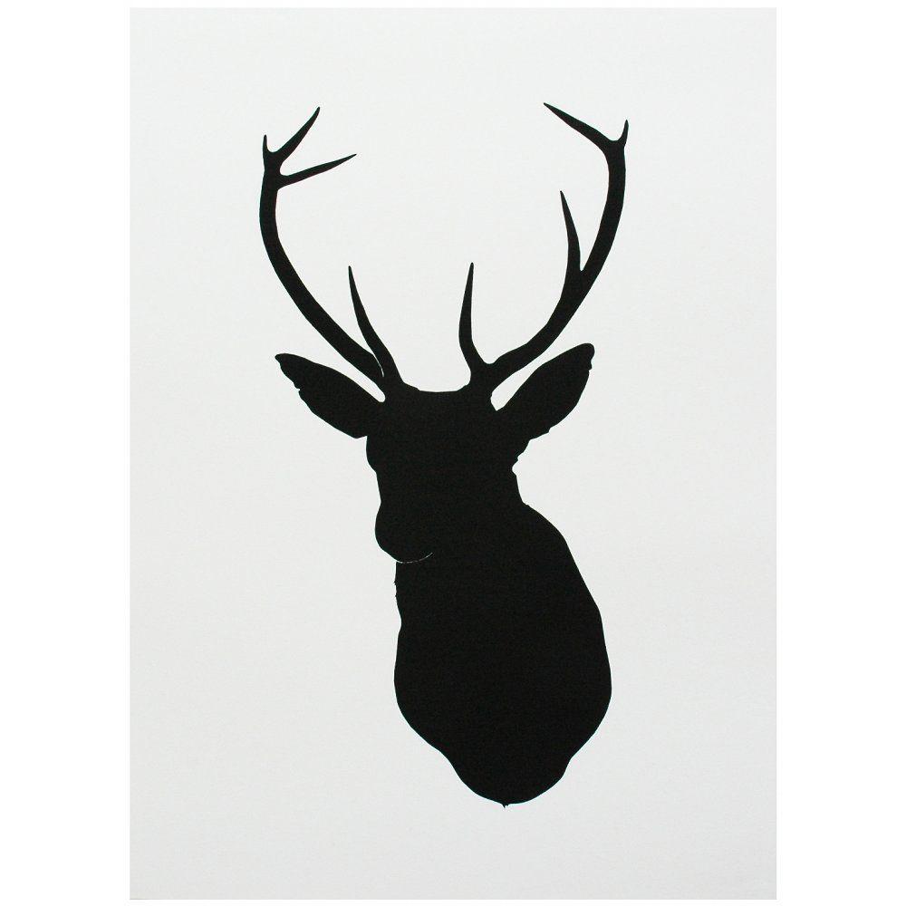 1000x1000 Deer Head Silhouette Stencil Salman Art Stag Head