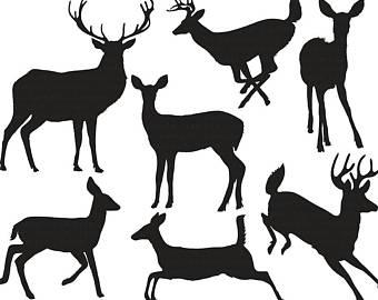 340x270 Deer Head Silhouette Clip Art Line Art Outline Buck Amp Doe