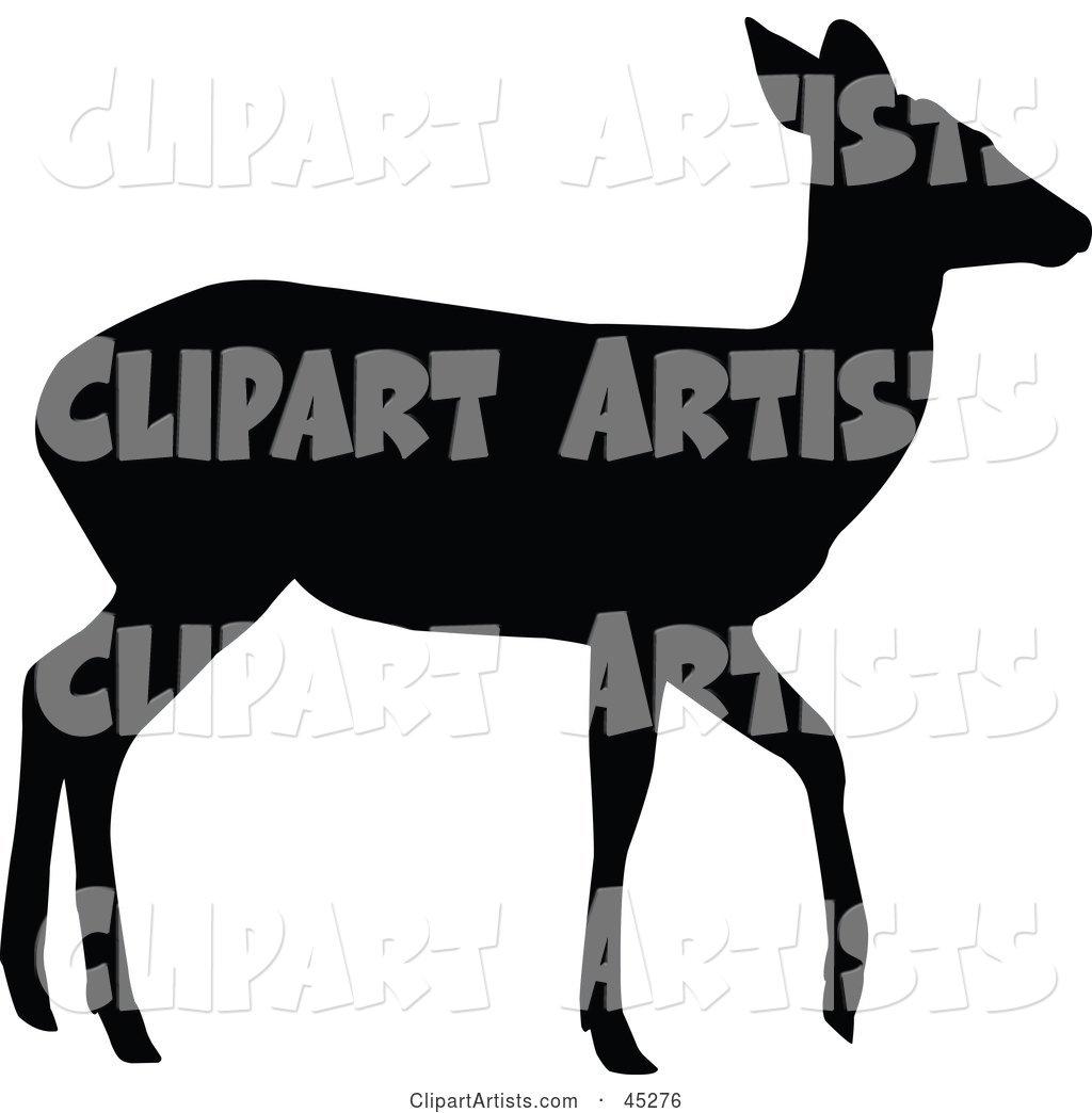 1024x1044 Profiled Black Walking Doe Silhouette Clipart By Jr (Vectorized)