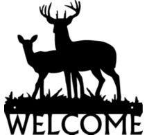 212x195 Welcome Sign Deer Buck Amp Doe