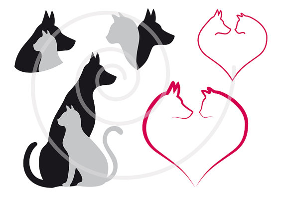 570x399 Cat And Dog Digital Clip Art Set Pet Animal Clipart Heart