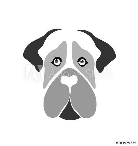 475x500 Mastiff Dog Cartoon Silhouette Face Vector Icon