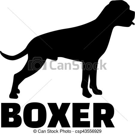 450x448 Boxer Silhouette With Breed Name Vector Illustration