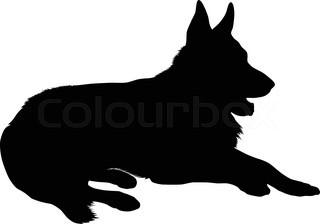 320x224 German Shepherd Dog Head, Black And White Illustration Stock