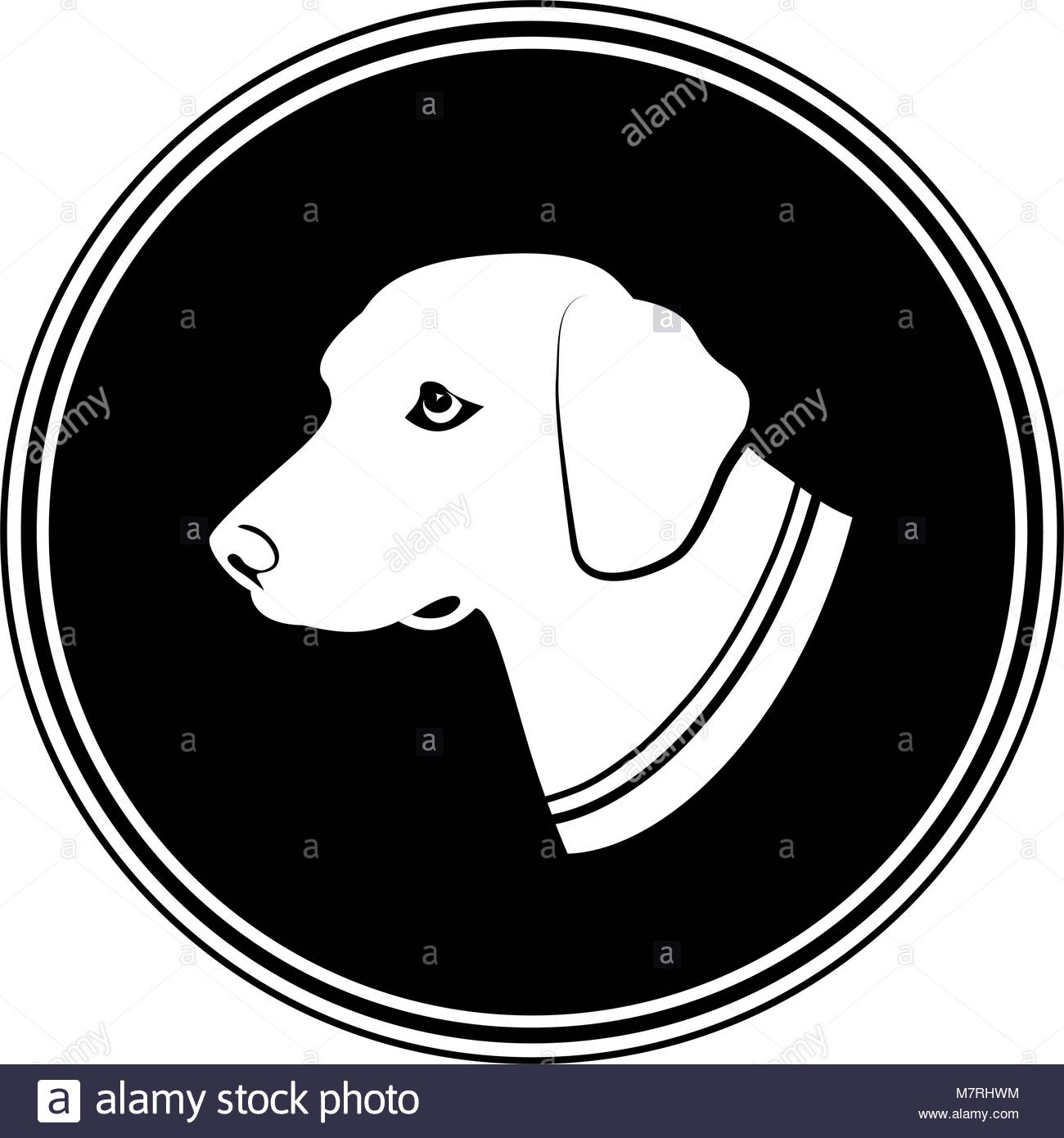 1300x1390 Illustration Sign Of White Dog's Head In Black Round. Silhouette