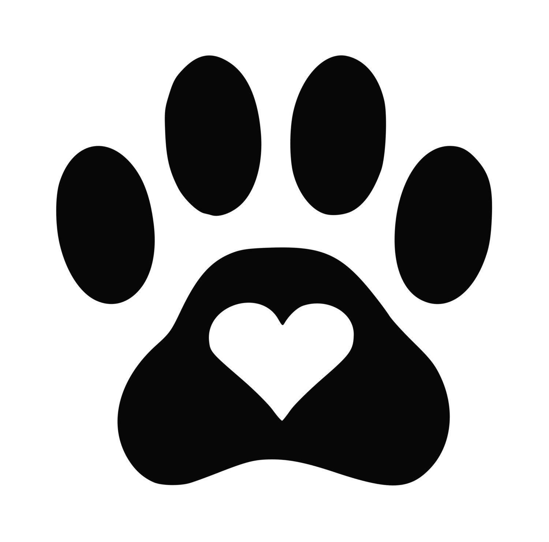 1500x1480 Dog Paw Heart Decal