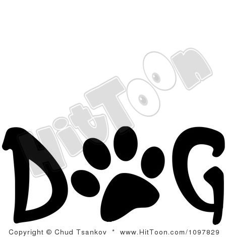 450x470 Free Word Art Clipart Paw Print In The Word Dog