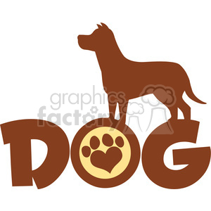 300x300 Royalty Free Illustration Dog Brown Silhouette Over Text With Love