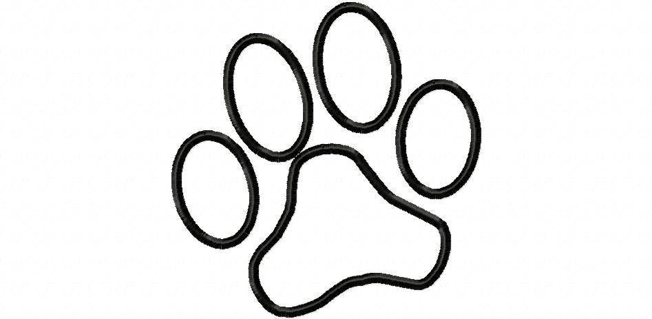 947x463 Paw Print Outline Clipart