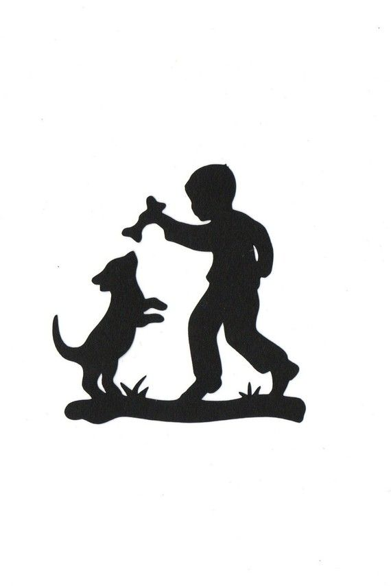 570x854 Boy And His Dog Child Silhouette Die Cut For Scrap Booking Or Card