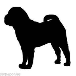 300x300 Shar Pei Dog Profile Silhouette Window Decal Black On Clear Backed
