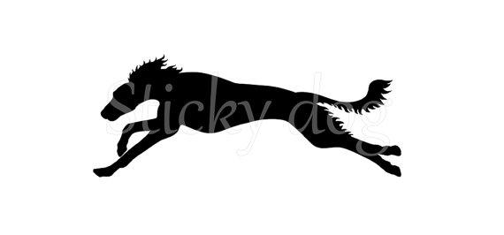 570x266 Saluki Running Silhouette Sticker