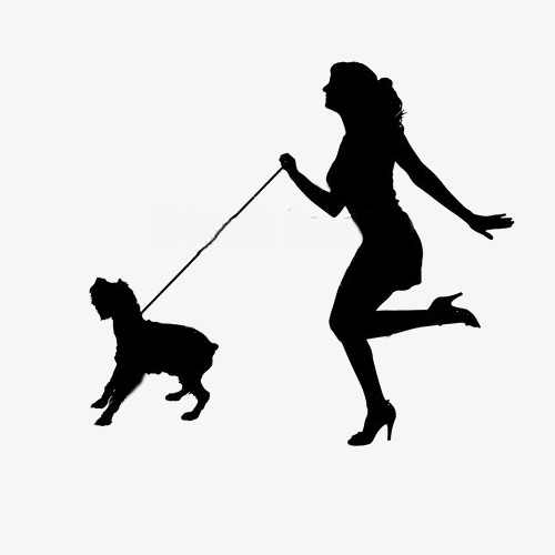 500x500 Silhouette Of Woman And Dog, Running Woman, Dog, Silhouette Dog