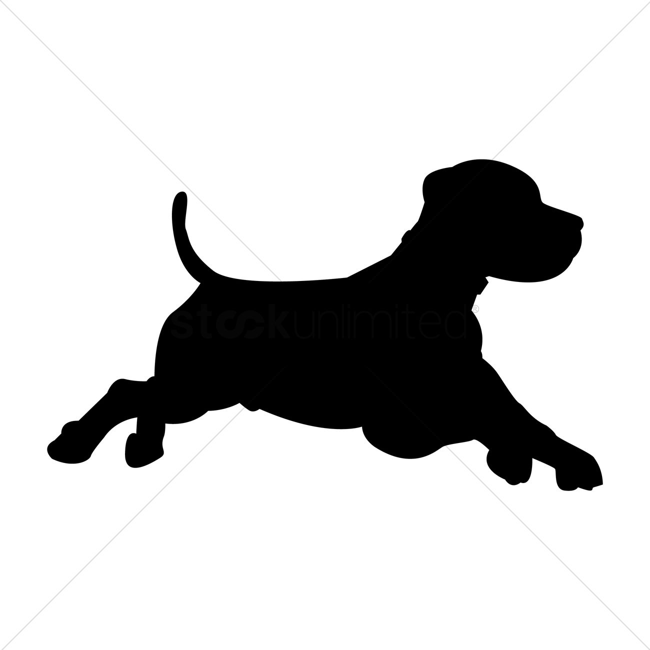 1300x1300 Silhouette Of Dog Running Vector Image