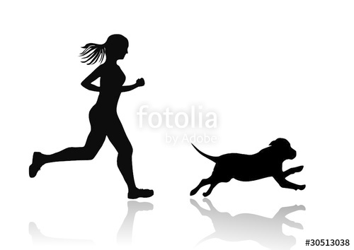 500x354 Girl Running With Dog, Vector Image Stock Image And Royalty Free