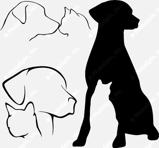 640x596 Dog And Cat Silhouette Clip Art Free Clipart Panda