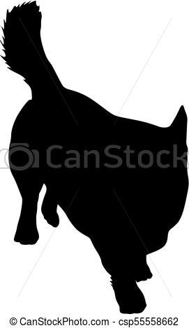 271x470 Welsh Corgi Dog Silhouette On A White Background. Clip Art Vector