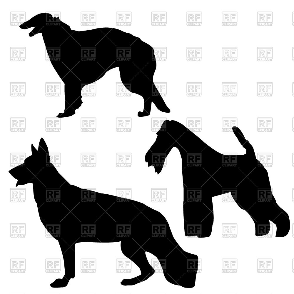 1000x1000 Working And Guard Dogs Silhouettes Free Vector Clip Art Image