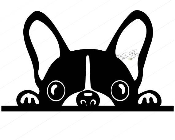 570x456 Peeking Dog SVG Silhouette Clipart Canine Family Pet Dog