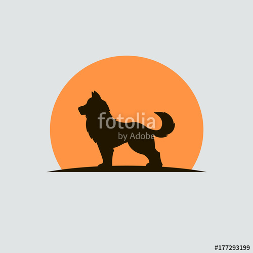500x500 Dog Logo Design. Dog Silhouette Logo. Vector Stock. Stock Image
