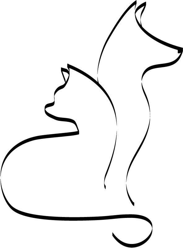 591x800 Outline Cat And Dog Cats And Dogs Animals Wall Stickers Wall Art