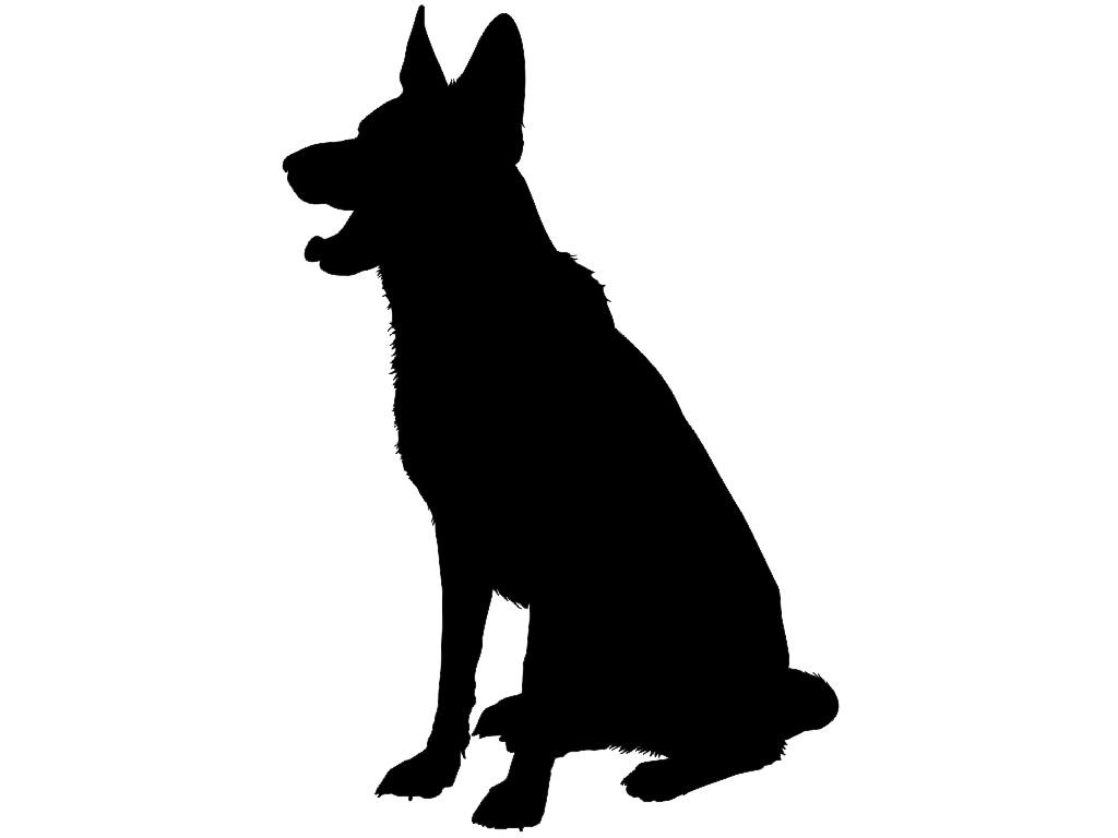 1024x768 Dog Sitting Silhouette Clipart