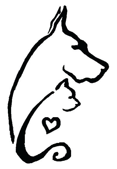 400x577 Outline Dog And Cat Tattoo Design Cat Outline Tattoo Ideas