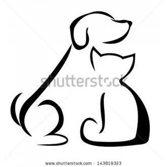 330x330 Black Dog White Cat Silhouette