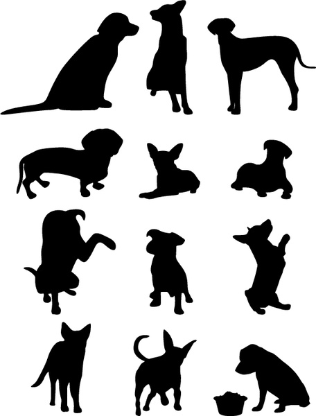 456x600 13 Dog Vector Silhouettes Free Vector In Adobe Illustrator Ai