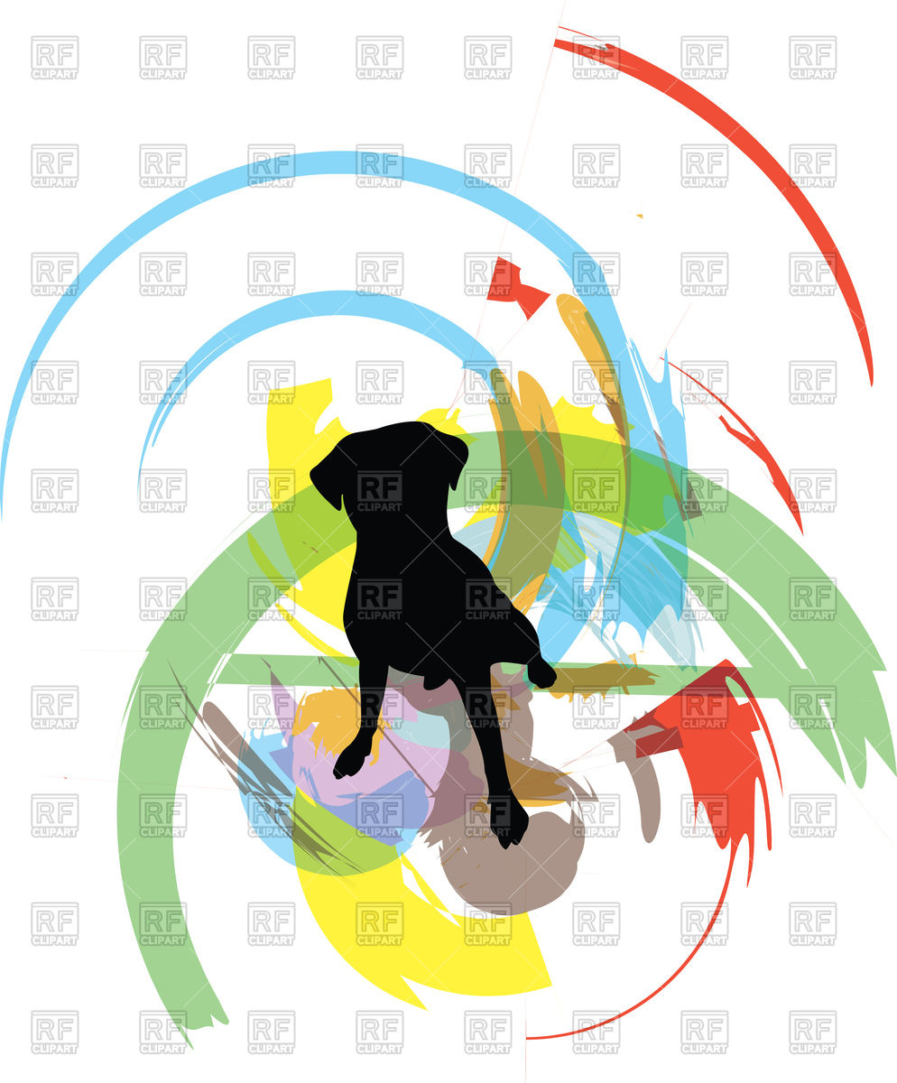 994x1200 Dog Silhouette On Abstract Background Royalty Free Vector Clip Art