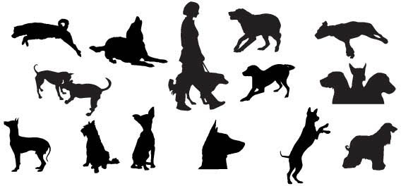 568x264 Dog Silhouettes Free Vector In Adobe Illustrator Ai ( Ai ) Vector