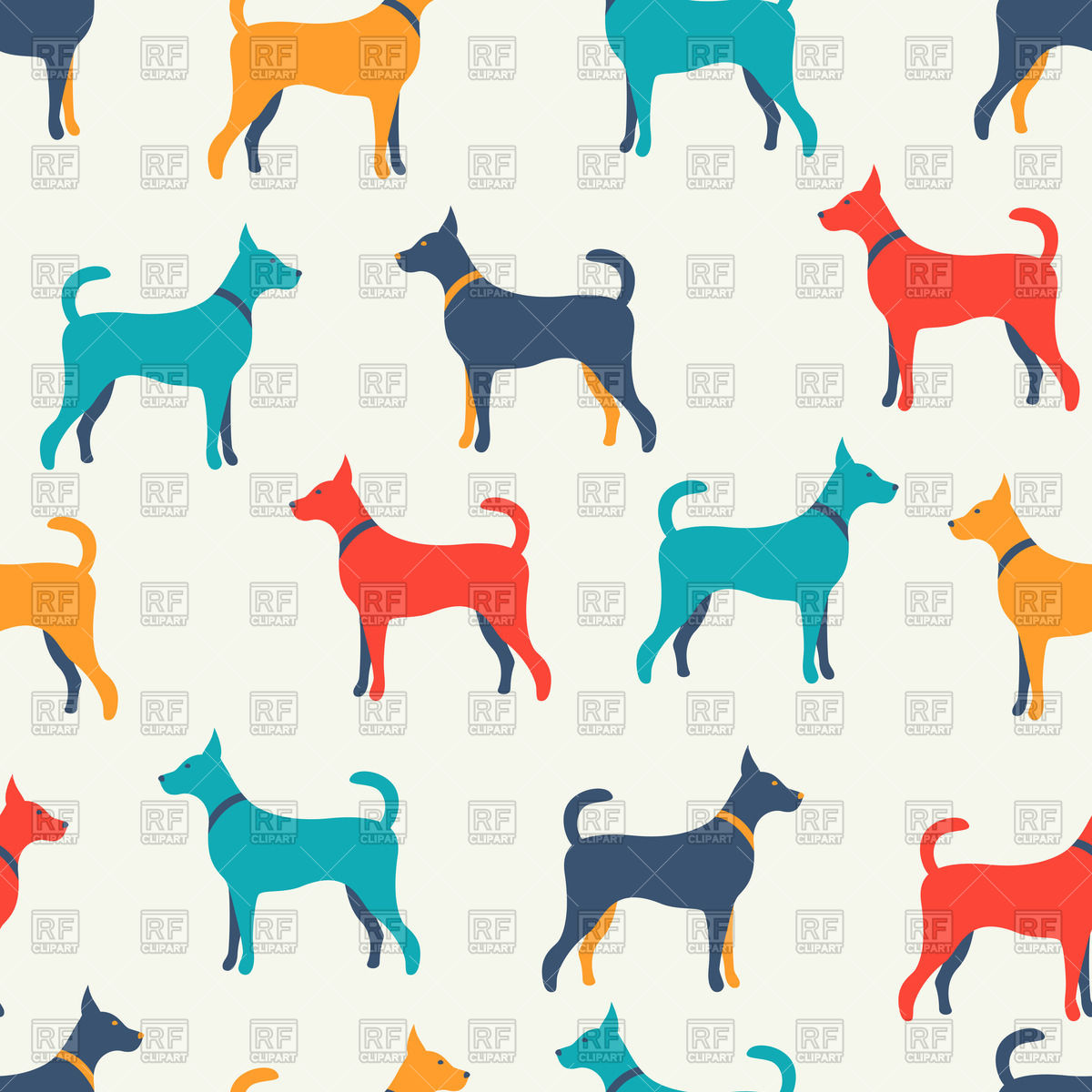 1200x1200 Seamless Background With Colorful Dog Silhouettes Royalty Free