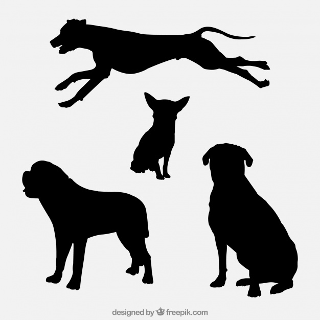 626x626 Variety Of Dog Silhouettes Vector Free Download