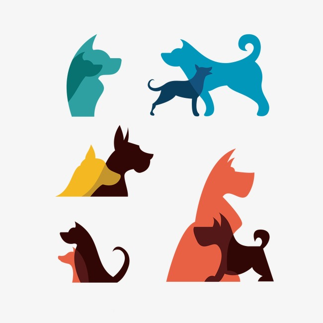 650x650 Vector Dog Silhouettes, Pretty, Animal, Color Png And Psd File