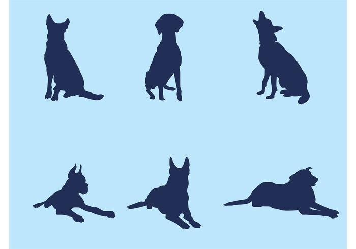 700x490 Big Dog Silhouette Vectors