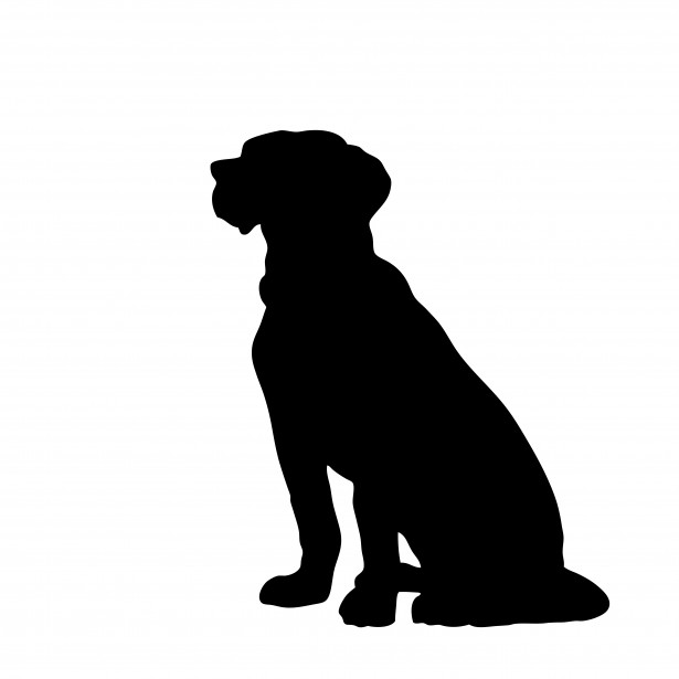 615x615 Dog Sitting Black Clipart Free Stock Photo