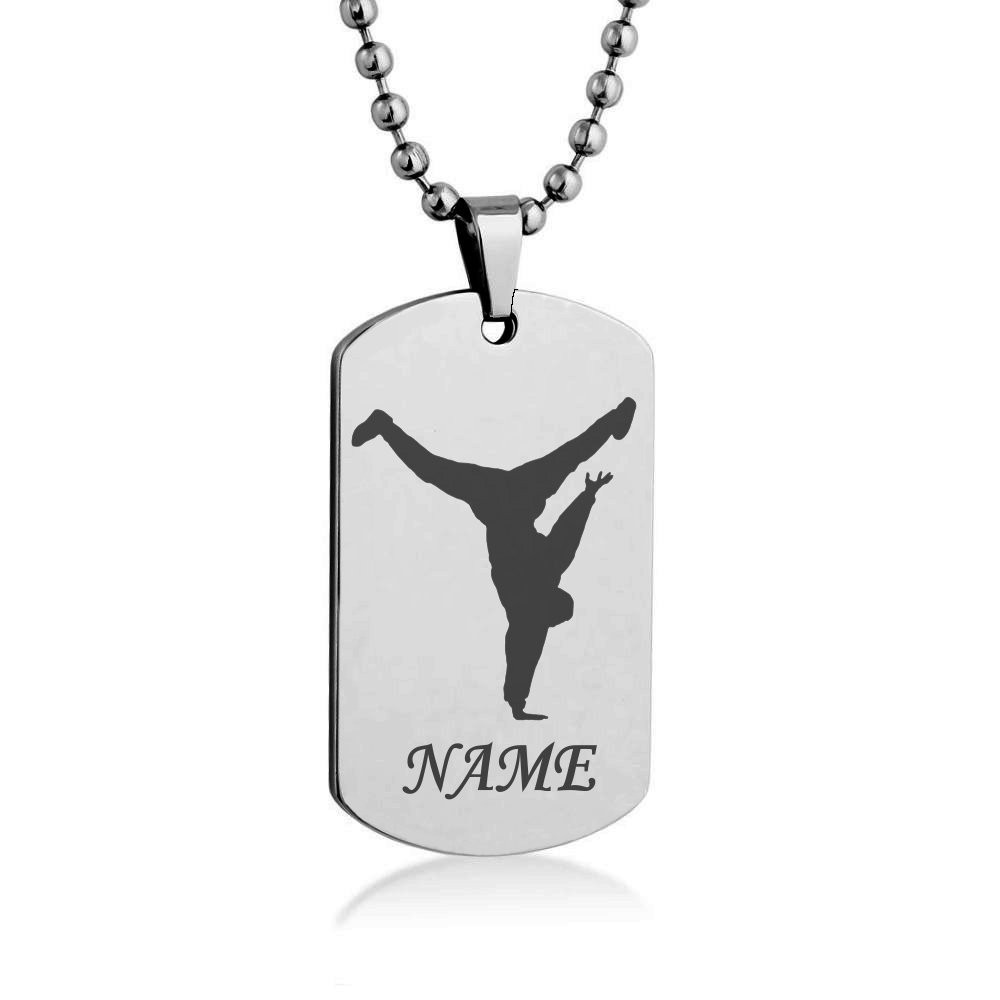 1000x1000 Hop Dancer Silhouette Costumize Engrave Dog Tag Necklace Pendant