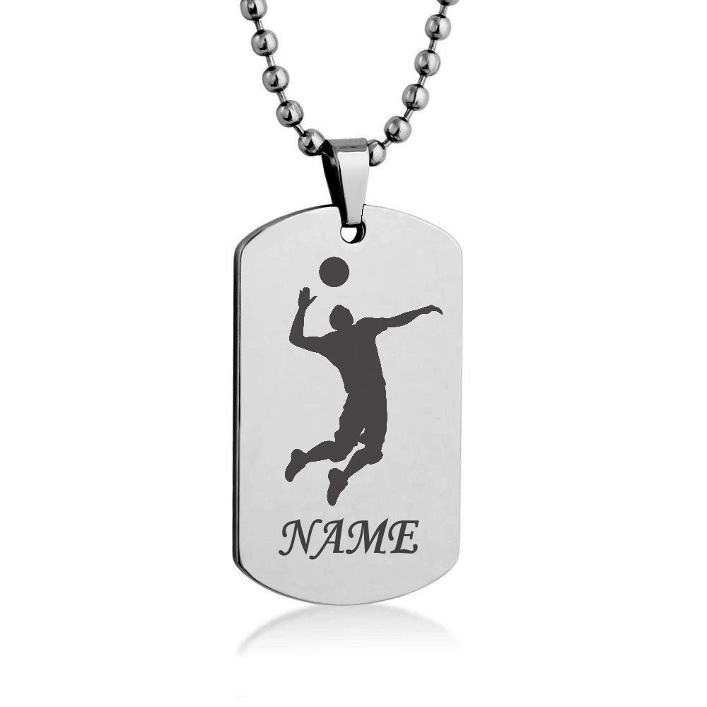 1000x1000 Beach Volleyball Silhouette Customize Engrave Dog Tag Necklace