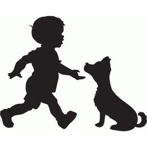 300x300 Boy With Dog Silhouette Silhouette Design, Dog Silhouette